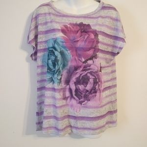 Nicole Miller Floral Striped Blouse Size Large
